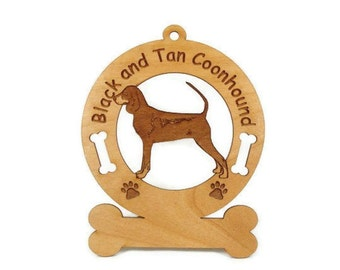1766 Black and Tan Coonhound Personalized Ornament