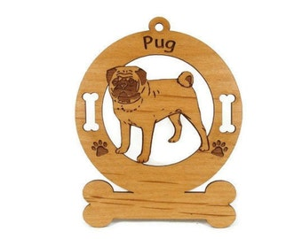 3759 Pug Standing Personalized Dog Ornament