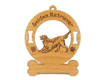 3263 Golden Retriever Playing Personalized Dog Ornament - Free Shipping