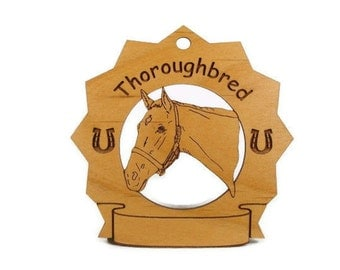 8317 Thoroughbred Head Horse Personalized Wood Ornament