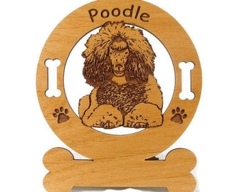 3750 Poodle Sittling  Personalized Wood Ornament