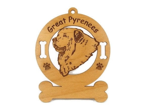 3301 Great Pyrenees Head Personalized Dog Ornament