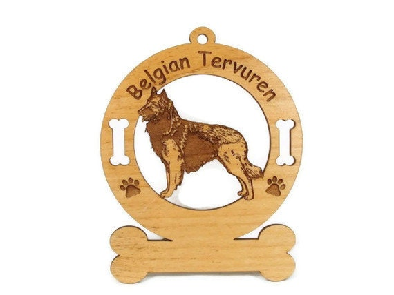1675 Belgian Tervuren Stack Personalized Wood Ornament