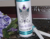 Peacock Unity Candle Set - Feather Bouquet with Rhinestones