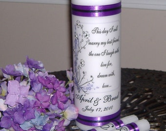 Unity Candle, Wedding Candle, Unity Candle Set, Cherry Blossoms, Candle with CRYSTALS