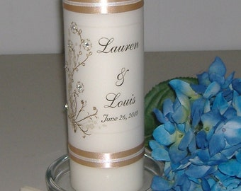Monogram Unity Candle Set - Cherry Blossoms -Pearl or Crystal accented cherry blossoms - choose your flower colors