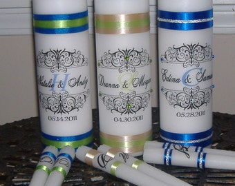 Personalized Unity Candle Set with Monogram, Unity Candle, Monogram Unity Candle, Crystals