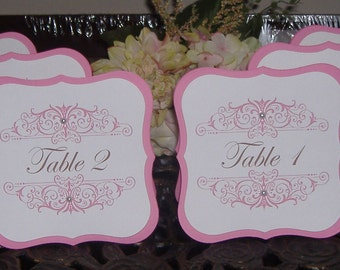 Table Numbers - Self Standing Tented Double Sided style - Set of Twelve - with Rhinestones - your choice of colors/flourish design