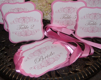 Table Numbers and Chair Signs - 14 piece set - NO Rhinestones or Pearls- your choice of colors/flourish design
