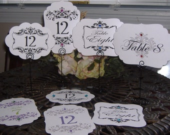 Table Numbers - Set of Twelve - Choose your package, colors/flourish design -