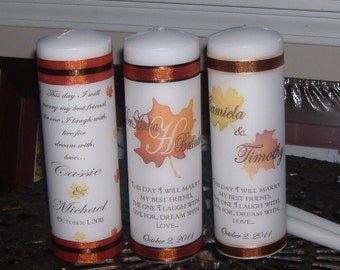 Fall Monogram Unity Candle Set - Your choice of four designs