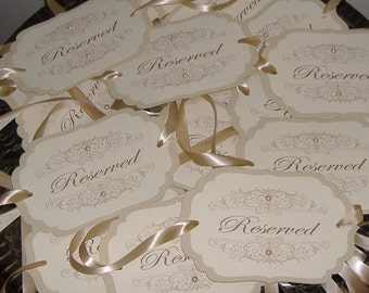 Wedding Chair Signs, Vintage Signs, Wedding Signs -  Set of EIGHT with crystals - personalize your text and colors