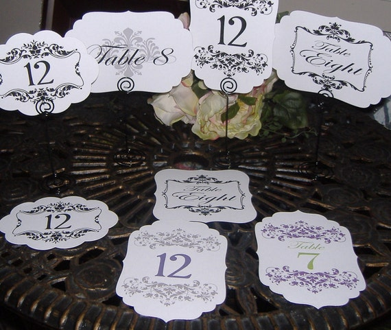 Table Numbers - Set of Twelve  UNEMBELLISHED