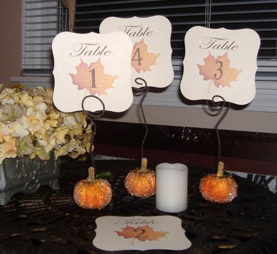 Fall Wedding Card Holder Ideas: Fall Pumpkin Table Number Holders Set Of 10