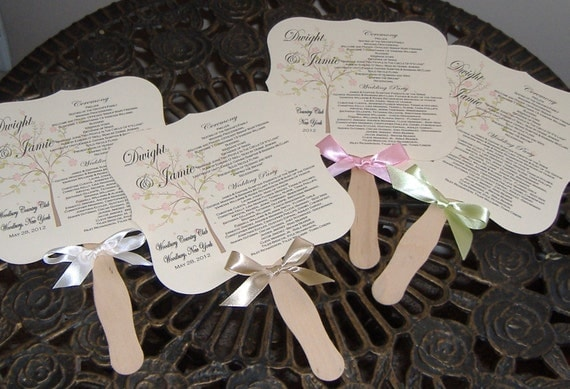 Wedding Fans with Program - set of 100