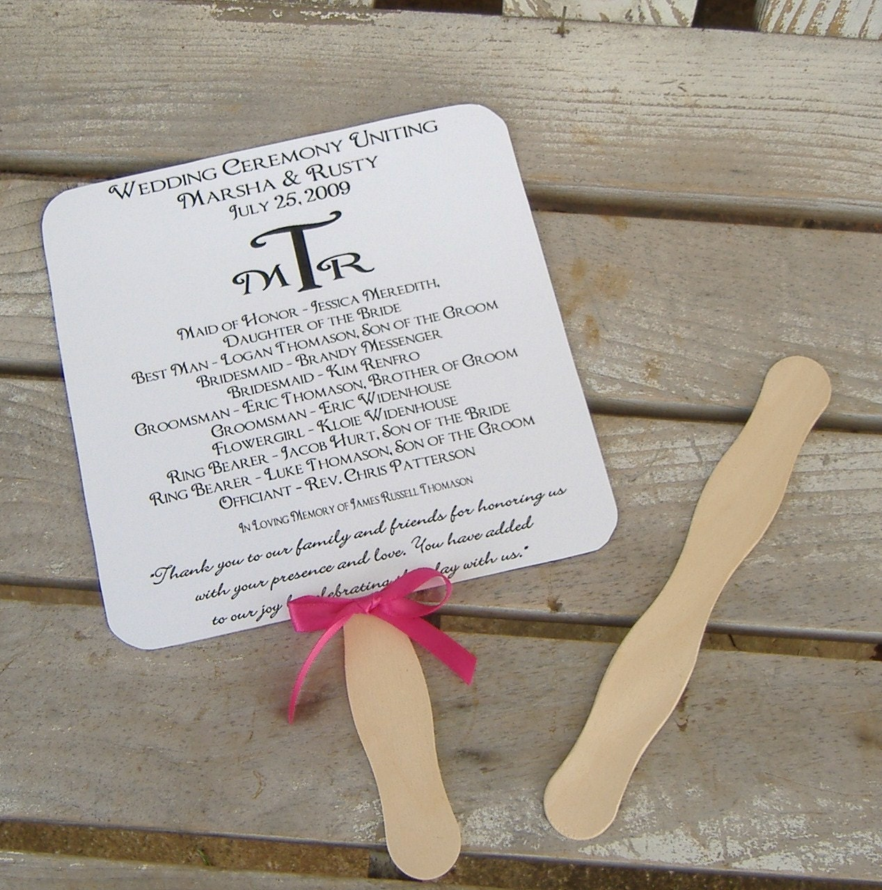 wavy fan handles for wedding program fans reserved for katie