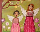 Nursery Decor, Baby Girl Nursery Art, Fairy Painting, Fairy Sister Art Print on Wood