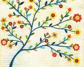 Tree Art - Tree Painting - Abstract Collage Tree Painting - Mixed Media Art - Wooden Art Block