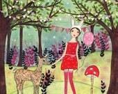 Woodland Girl Art - Large Art Print - Girl Room Decor - Nursery Wall Art - Children Decor - Woodland Animals Art Print - Large Wall Art
