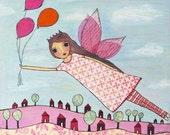 Fairy Art Print Block Pink Flying Princess Painting Fairy Tale Art