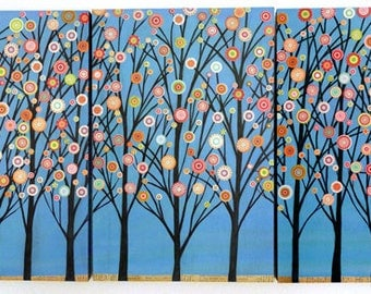 Triptych Painting, Abstract painting, Triptych Art, Triptych Wall Art, Tree Landscape Painting, Blue Trees Collage Painting, Wood Art Block
