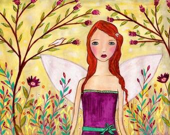 Fantasy Fairy Painting Art Print Mounted on Wood