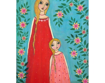 Mother and Child Painting Art Print Mounted on Wood