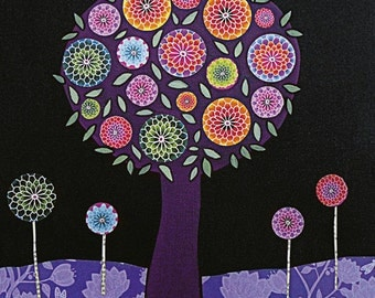Purple Tree Abstract Painting Art Print on Wood Modern Collage