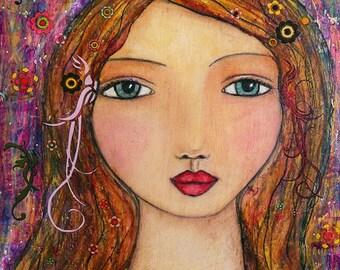 Portrait Painting Art Mystical Mixed Media Girl Art Print on Wood