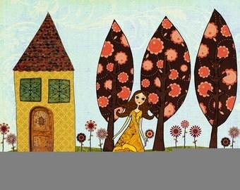 Whimsical Fairytale Painting Art Print on Wood Nursery Decor - Poppy's Garden