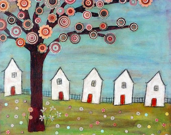 Five Houses Art Print From an Original Mixed Media Painting