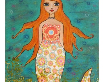 Whimsical Mermaid Art Print Fantasy Art