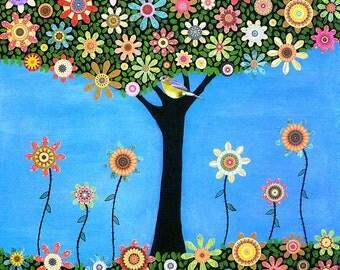 Summer Bird Tree Painting Art Print Nursery Room Decor Nursery Art Print by Sascalia