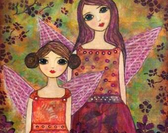 Autumn Fairy Sisters Art Print Two Little Fairies with Pumpkin and Plum Dresses Autumn Glow