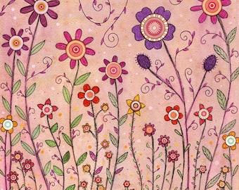 Floral Print, Pink Retro Flowers, Girls Wall Art