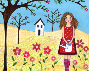 Folk Art Girl Painting Art Print Flower Garden