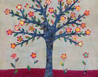 Whimsical Flower Tree Painting Art Print by Sascalia
