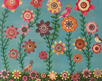Spring Birds and Flowers Art Print Collage Art for Home decor - Dreaming of Spring by Sascalia