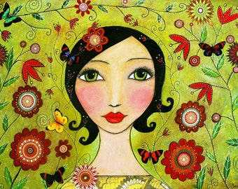 Girl with Butterflies and Flowers Painting Art Print, Mixed Media Woman Portrait Painting