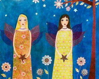 Friendship Sister Painting Art Block Moonlight Fairies Painting Art Print Block