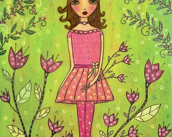 Girl Fairytale Garden Painting Art Print Block