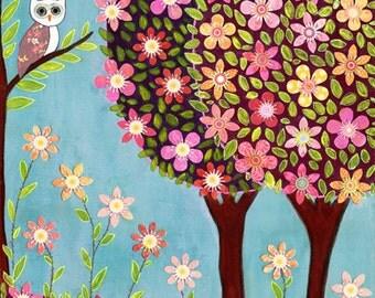 Woodland Owl Painting Art Print Block
