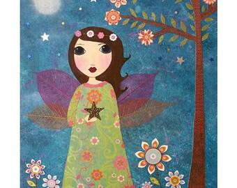 Cute Fairy Painting Nursery Art Nursery Decor Child's Room Decor Nursery Print Baby's Room