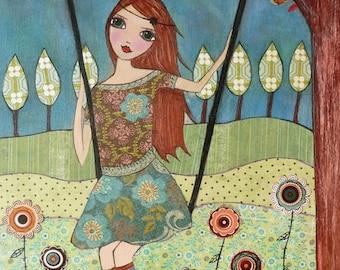 Folk art Girl Painting Art Print Block Whimsical Girl on Garden Swing