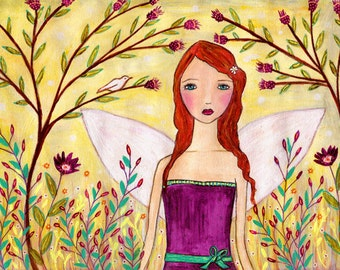 Whimsical Redhead Fantasy Fairy Painting Art Print Block