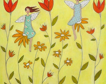 Flower Fairies Painting Art Block Print