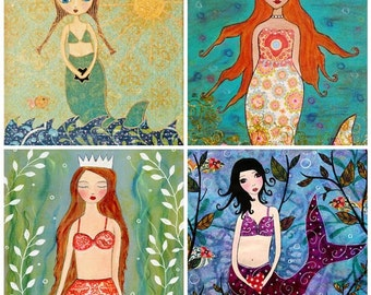 Mermaid Painting Art Print Set, Mermaid Art Prints, Four 5 inch by 5 Inch Prints