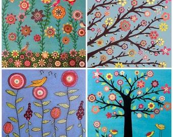 "Nursery Art Prints, Baby Nursery Devor, Nursery Wall Art, Flower Nursery Decor, Flower Painting Art Print Set of Four 5"" by 5"" Prints"