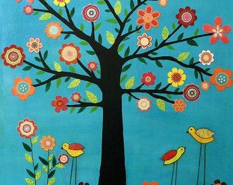 Children Wall Art - Nursery Art Print - Baby Nursery Decor - Unisex Kids Wall Art - Retro Flower Tree 'Sunshine' - Unisex Nursery Art
