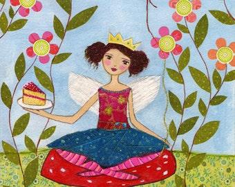 Birthday Party Fairy Art Print Whimsical Fairytale Girl Painting on Wood